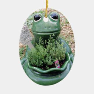 Got Thyme Frog Herbs Garden Photo Design Ceramic Ornament