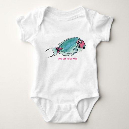 Got To Go Poop Cartoon Fish Funny Baby Baby Bodysuit