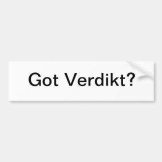 Got Verdikt? (Bumper Sticker)