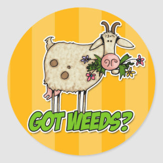 got weeds goat classic round sticker