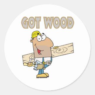 got wood carpenter humor funny design classic round sticker
