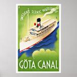 Gota Canal Sweden Ship Vintage Travel Poster