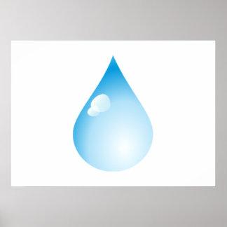 Gota de lluvia azul impresiones