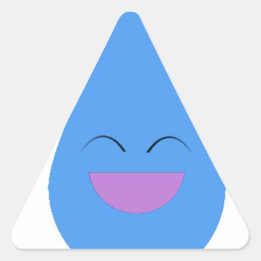 Gota de lluvia feliz pegatinas de triangulo personalizadas