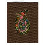 Gota decorada con flores y aves del arte de Persia Tarjeta De Felicitación Grande