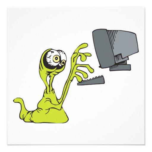 gota extranjera del monstruo del ordenador que mec invitaciones personalizada