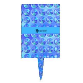 Gotas azules vidriosas decoraciones para tartas