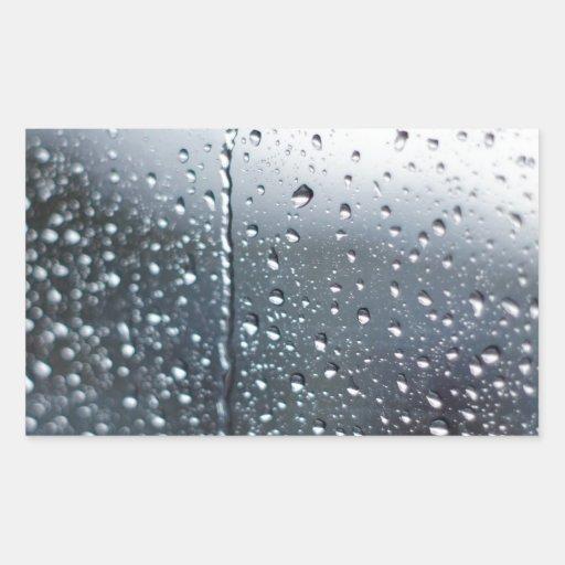 Gotas de agua de la ventana pegatina rectangular