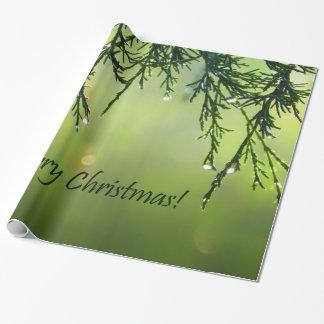 Gotas de agua de las Felices Navidad en árbol Papel De Regalo
