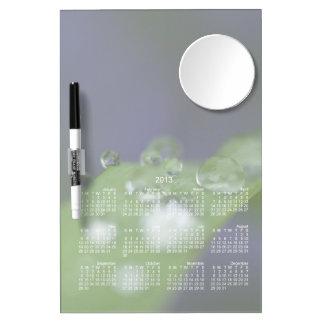 Gotas de agua del jardín; Calendario 2013 Pizarra Blanca