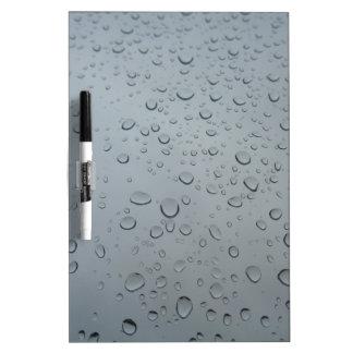 Gotas de agua, descensos del agua, ventana pizarra blanca