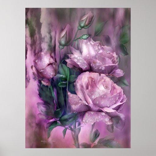 Gotas de agua en el poster/la impresión rosados de