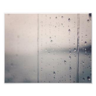 Gotas de agua en la impresión de la foto de la fotografías