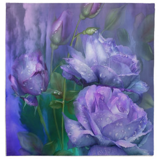 Gotas de agua en servilletas del arte de los rosas