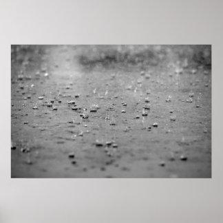 Gotas de agua en una tormenta póster