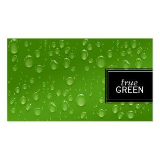 Gotas de agua frescas en verde plantillas de tarjetas de visita