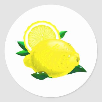 Gotas de limón pegatina redonda