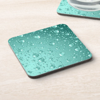 Gotas de lluvia abstractas Trullo-Verdes metálicas Posavasos