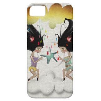 Gotas de lluvia coloridas de la nube de la muñeca funda para iPhone 5 barely there