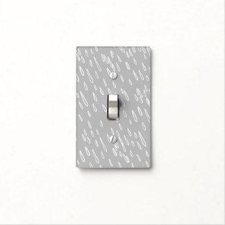 Gotas de lluvia grises y blancas placa para interruptor