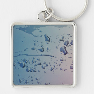 Gotas de lluvia llavero cuadrado plateado