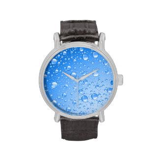 Gotas de lluvia metálicas del azul de cielo reloj