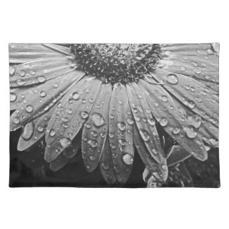 Gotas de lluvia que relucir en la flor de la manteles