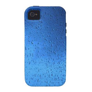 Gotas de lluvia sobre el vidrio azul vibe iPhone 4 carcasa