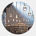 Gotas de luz etiqueta redonda