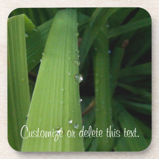 Gotas del agua en hierba; Personalizable Posavaso