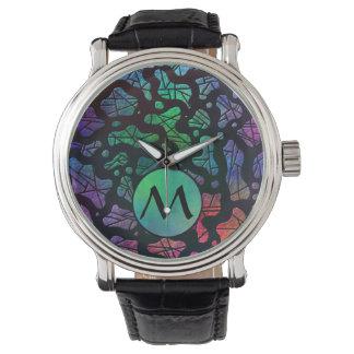 Gotas del arco iris con el monograma en colores relojes de pulsera