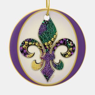 Gotas del carnaval de la flor de lis adorno navideño redondo de cerámica
