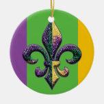 Gotas del carnaval de la flor de lis ornamento para arbol de navidad