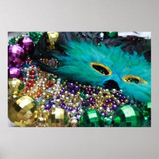 Gotas del carnaval y impresión verde del arte del