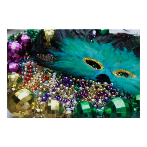 Gotas del carnaval y impresión verde del arte del póster