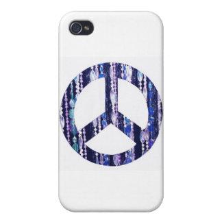 Gotas púrpuras en signo de la paz iPhone 4 carcasa