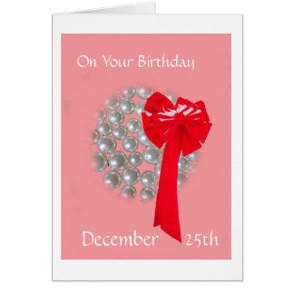 Gotas y arco del cumpleaños del navidad tarjeta de felicitación