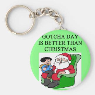 gotcha idea del navidad de la adopción del día llavero personalizado