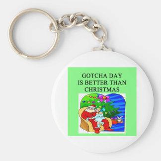 gotcha idea del navidad de la adopción del día llaveros personalizados