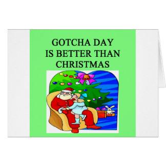 gotcha idea del navidad de la adopción del día tarjetón