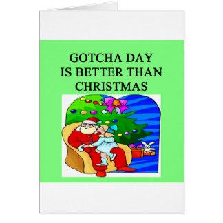 gotcha idea del navidad de la adopción del día felicitacion