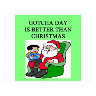 gotcha idea del navidad de la adopción del día tarjeta postal