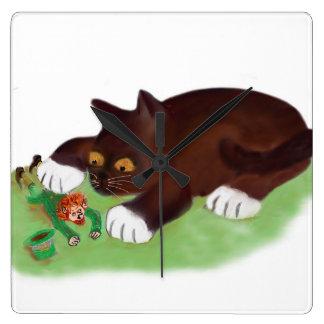 Gotcha Leprechaun Says Kitten Square Wallclocks