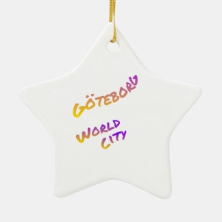 Göteborg world city, colorful text art ceramic ornament