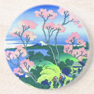 Goten-Yama Hill Hokusai Cherry Blossom Fine Art Drink Coaster