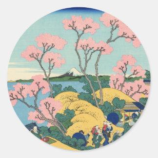 Goten-yama Hill, Shinagawa on the Tōkaidō Classic Round Sticker