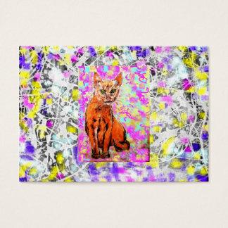 goteo curioso de la púrpura del gato tarjetas de visita grandes