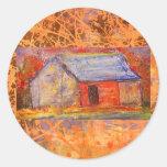 goteo de la casa de la granja etiquetas redondas