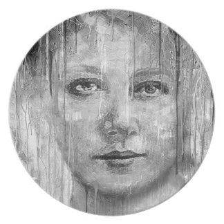 Goteo de la pintura de la mujer de Black&White Platos Para Fiestas
