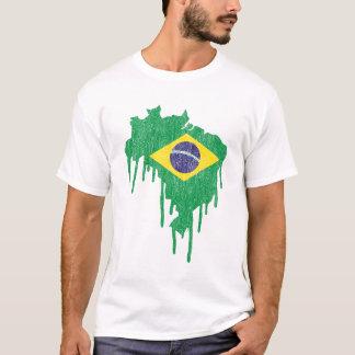 Goteo de la pintura del Brasil Playera